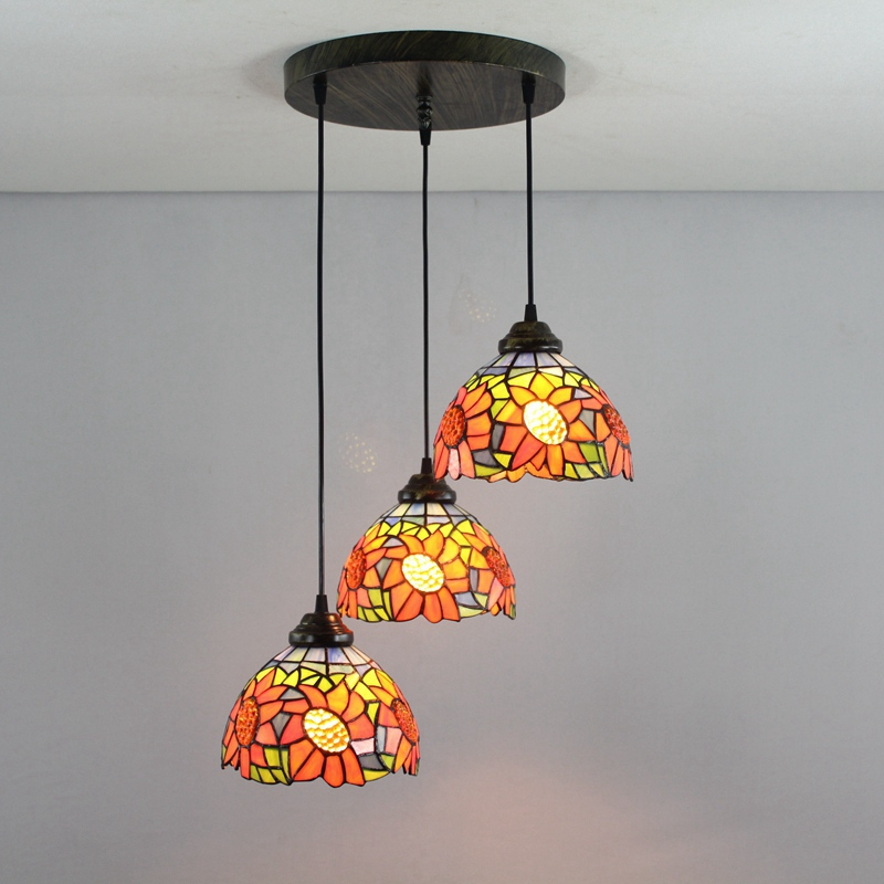 Us 196 62 42 Off Green Sunflowers 3 Heads Stained Gl Western Style Restaurant Pendant Lights 110 240v Dia43cm Bar Three Pandant Lamps E27 In