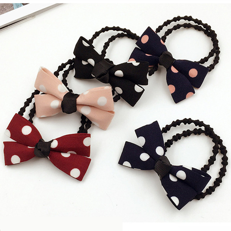 Sincere Korean Cherry Red Bowknot Flower Elastic Rubber Hair Band Rope Plastic Hair Clips Hairpin For Women Girls Kids Hair Accessories Girl's Accessories Apparel Accessories