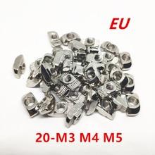 100 шт., 20 серий M3 M4 M5, гайка-молоток, Т-образная скользящая гайка, никелированная углеродистая сталь для, алюминиевый профиль, соединитель