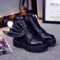 Marca de luxo ocasional Primavera Asas Destacáveis Botas Mulheres de Moto Estilo hip hop Do Punk Botas Martin Botas Zapatos Mujer Demônio