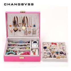 1 piezas de cuero de moda de la joyería caja de almacenamiento de contenedor casos cajas dulce regalo gran capacidad de red de caja de joyería