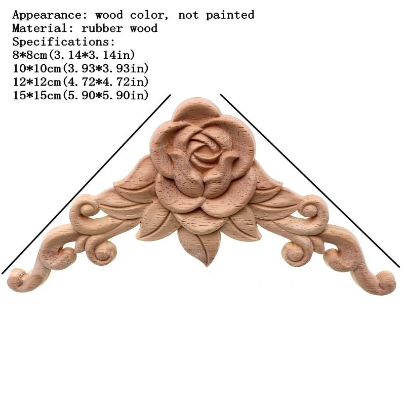 RUNBAZEF SRose Floral Wood փորագրված Decal անկյուն - Տնային դեկոր - Լուսանկար 2