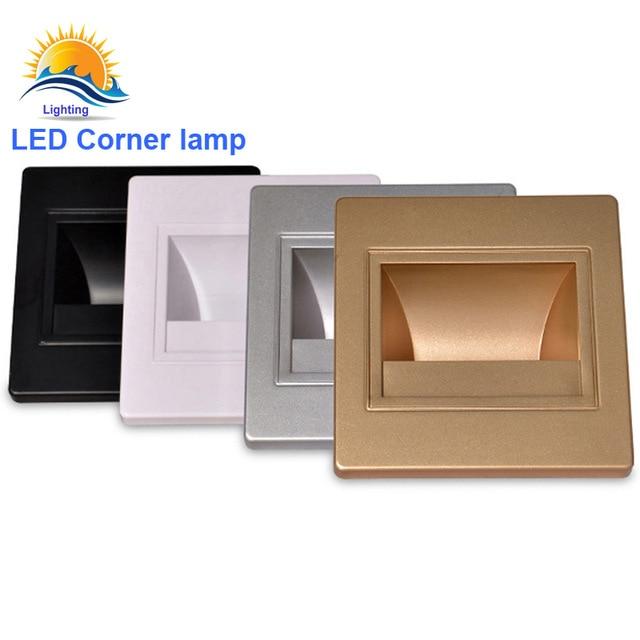Светодиодный 1 Вт угол настенный светильник для шага AC85-265V встраиваемые бра свет для внутреннего светодиодный InWall Освещение с 86 установить ...