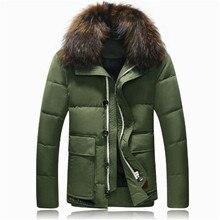 Winter Jacket Men 2016 Slim Solid Color Lapel Natural Fur Snow Wear Parka Plus Size Casual Brand-clothing Warm Winter Coat