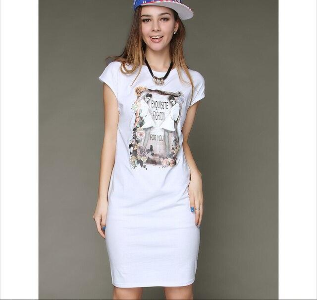 Plus Size White T Shirt Dress Elegant Casual Ladies Celebrity ...