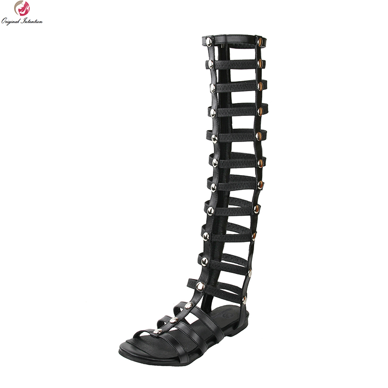 Original Intention New Sexy Women Sandals Fashion Open Toe Thin Heels High-quality Black Shoes Woman Plus US Size 4-15 new high quality women sandals pu leather sexy open toe thin heels party sandals black shoes woman plus size 4 15 customizable