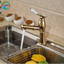 Золотой вытащить распылитель кухонный Смесителя Одно Отверстие двухслойные крепление Кухня Раковина кран