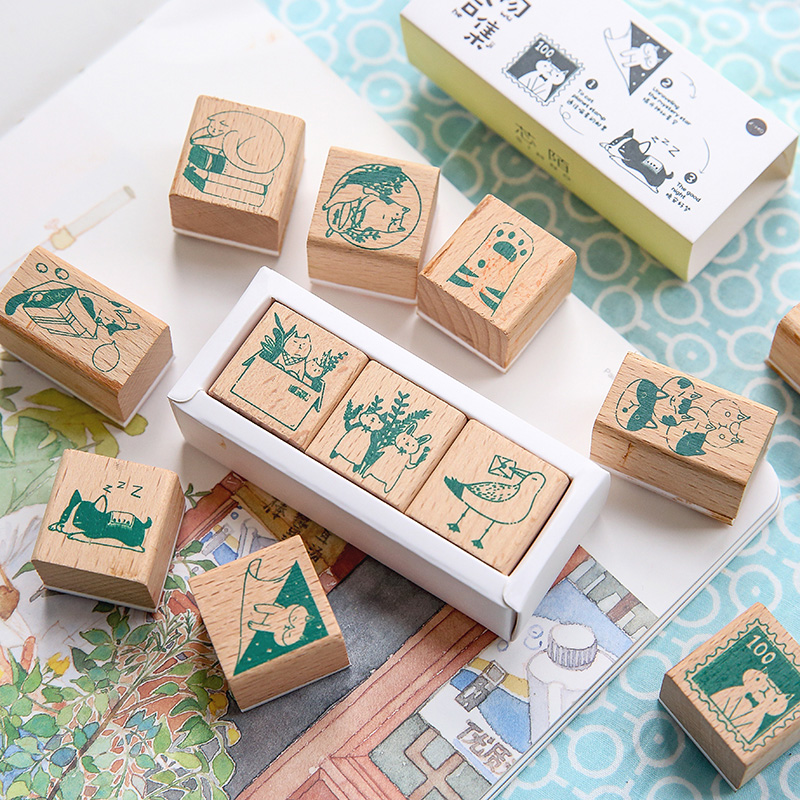 3 Pcs/Box Cute Animal Cartoon Cat Pet Stamp DIY Wooden Rubber Stamps For Scrapbooking Stationery Standard Stamp