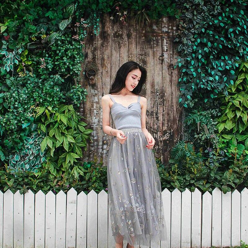 Floral Hadas Imperio Mujeres Top Elegante Moda Suit Traje Lentejuelas Tank Cintura Falda Sexy De Vintage Larga Bordado Correa UIqEI