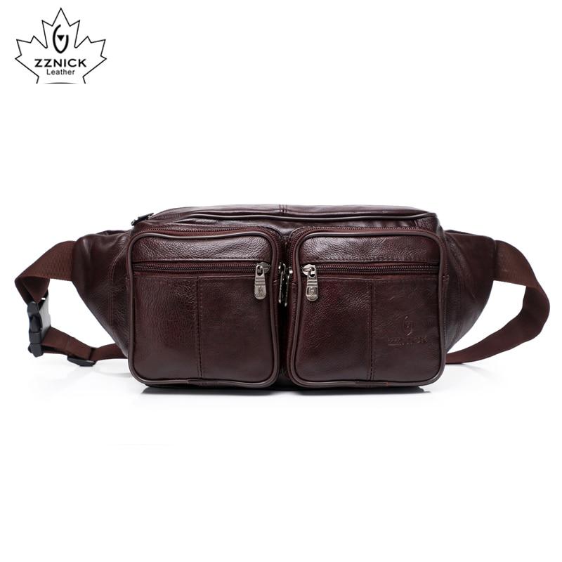 Cow Genuine Leather Men Waist Pack Fanny Pack Bum Bag Man Pouch Travel Cash Card Pochete Bolso Cintura Homme  ZZNICK