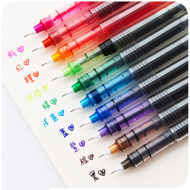 High Quality Straight Liquid Gel Pen School Candy Color Pens Student Creative 0.5mm Black Gel Ink Pen Cute Stationary
