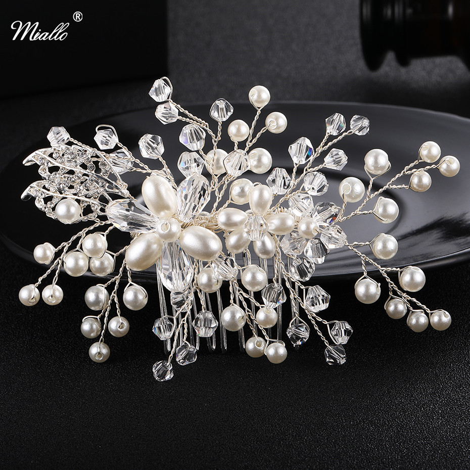 us $4.54 35% off|miallo handmade bridal comb pearl bridal hair accessories bridal hair combs hairpin tiara wedding hair accessories hair jewelry-in