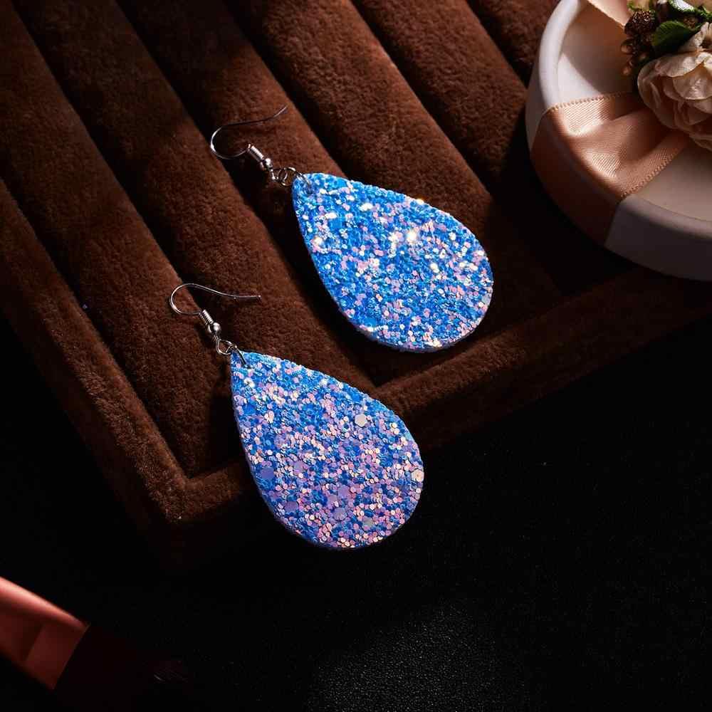 Belleper بريق فريد أقراط بو الجلود Waterdrop قلادة متعدد الألوان الموضة العصرية مجوهرات للنساء الأذن اكسسوارات 2019