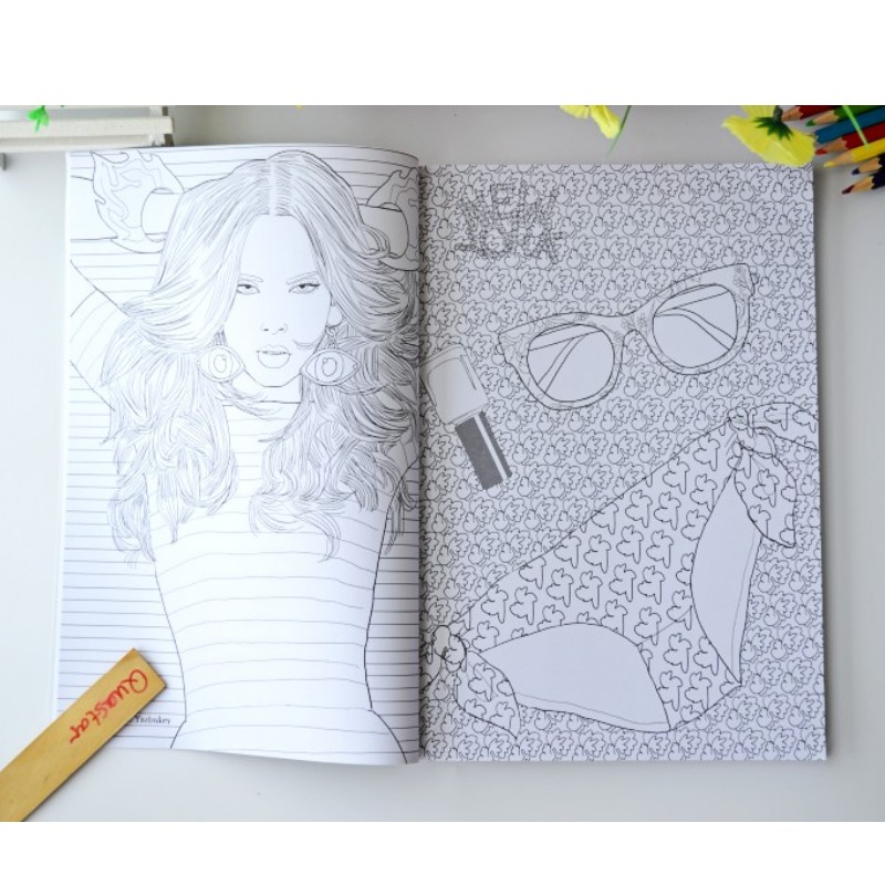 Image 3 - Fashion Girl coloring book for adults antistress Relieve Stress Graffiti Painting Drawing books libros de pintar para adultos-in Books from Office & School Supplies