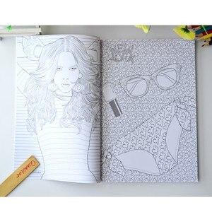 Image 3 - 패션 소녀 성인을위한 색칠하기 책 antistress 릴리프 스트레스 낙서 그림 그리기 책 libros de pintar para adultos
