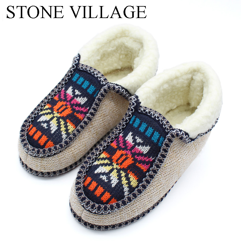 STONE VILLAGE Winter Warm Plush Slippers Print Knitted Home Slippers Soft Bottom Cotton Women Slippers Shoes