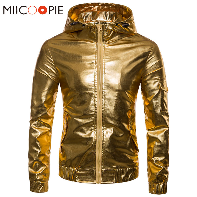 Leather Jacket Men Coats 2018 Autumn Night Club Glossy Zipper Streetwear leather jackets Male Fashion Gold Sliver Hip Hop Coat