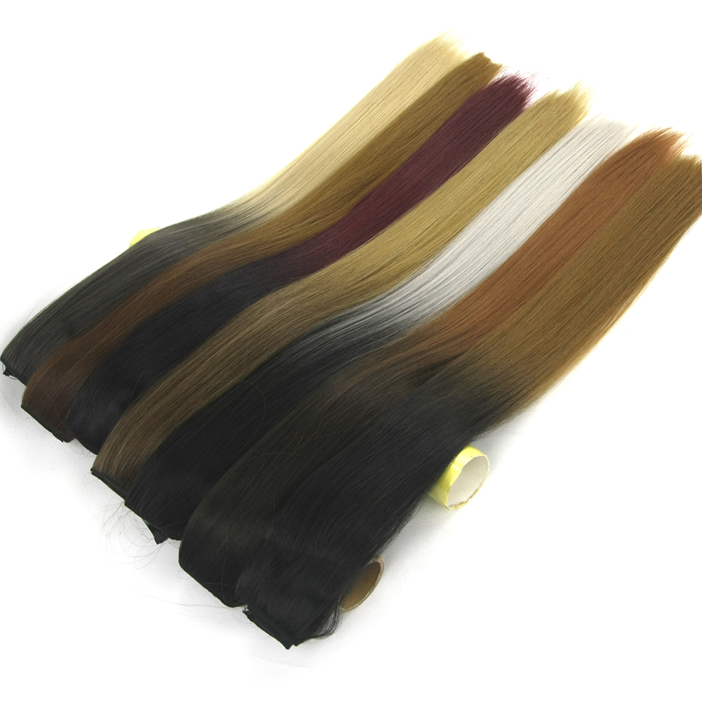 Soowee 24 Inch Black To Blonde Ombre Hair Straight High Tempreture Fiber Synthetic Hair Clip In Hair Extension Hairpiece Cheveux