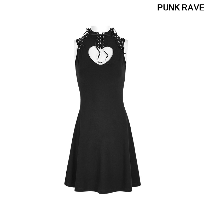 Gothic Elastic Cotton Knitted Bandage High Collar Black Heart Shap Dresse Breast Hollow Out Laced dresses PUNK RAVE OPQ 249LQF