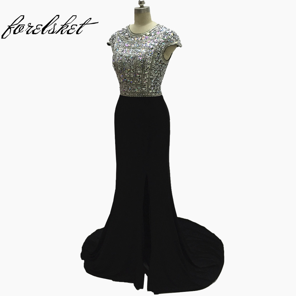 Crystal Mermaid Long Evening Dresses 2017 cap sleeves Jewel Neckline Black Prom Gowns women's dresses for Formal Evening party