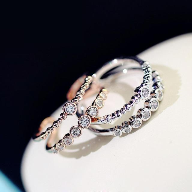 Double Layer Rose Gold Ring Women Fashion Jewelry Adjustable Rings Micro Pave Bi