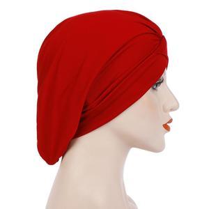 Image 5 - Kadın yumuşak uyku gece kap müslüman düz kızılderili şapkası Baggy kemo şapka türban bere Bonnet şapkalar Skullies geniş bant islam kap