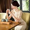 Elegant Lace Embroidery Cheongsam Lady Dress Short Sleeve Cheongsam Qipao Wedding Fashion Designer Chinese Dresses