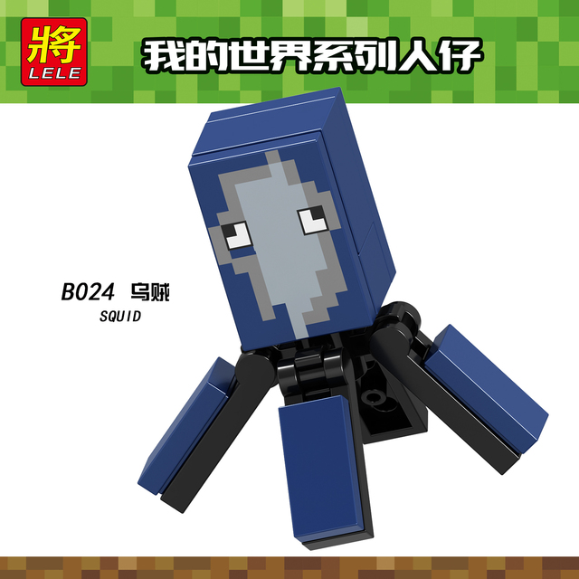 US $0 9 |Single Sale Minecraft Squid Building Blocks Toys For Children  Compatible Legoing Minecrafts Legoings Figues Bricks B024 Kids-in Blocks  from