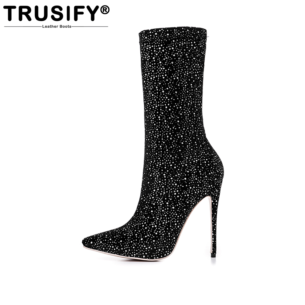 TRUSIFY 2018 Ohdirect vt Stretch Fabric Women Pointed Toe 12cm Stilettos Womens Winter Boots Sexy Short Boots Women