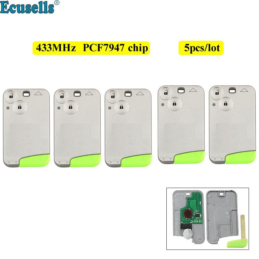 5pcs lot 2 Button Remote Card Smart Car Key 433Mhz PCF7947 Chip for Renault Laguna Espace