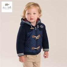 DB3946 дэйв bella baby мальчики с капюшоном пальто на вате верхняя одежда темно-синий пальто