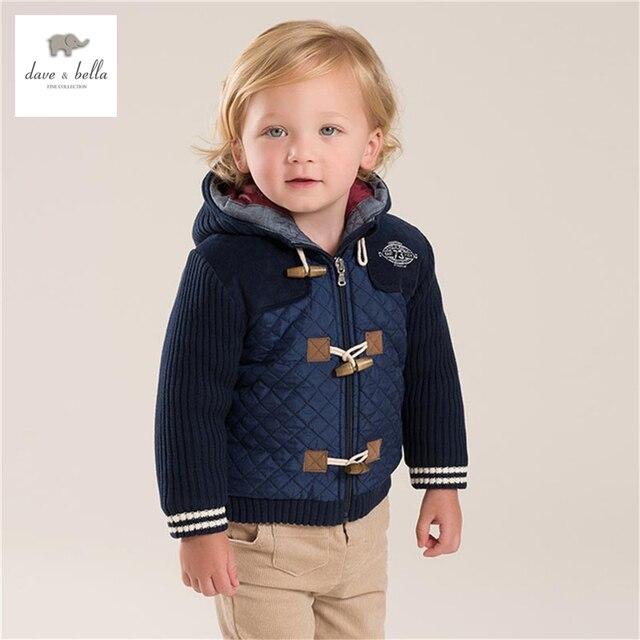 DB3946 dave bella baby boys hooded coat padded outerwear dark blue coat