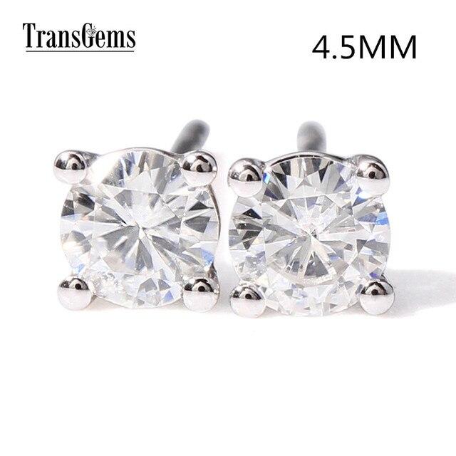 Transgems 14k 585 White Gold 0 8ctw 4 5mm Lab Created Moissanite Diamond Stud Earrings For