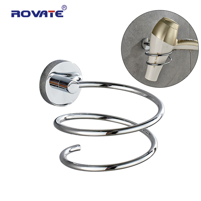 Rovate Bathroom Hair Dryer Holder Stainless Steel Wall Mounted Shelving Shelf Chrome Hairdryer Accessories