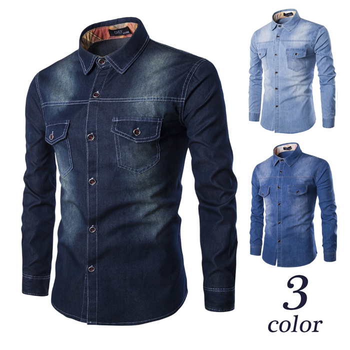 New 100% Cotton Long Sleeves Cowboy Shirts Men High Quality Shirt Denim Solid Color Casual Slim Fit Shirts Clothes Plus Size 6XL