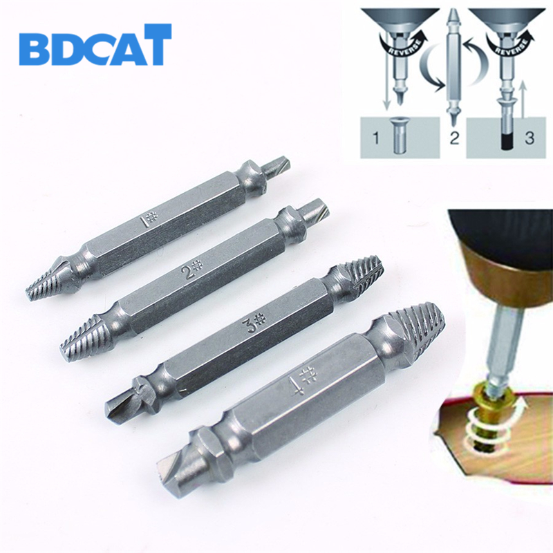 4PCS/Set Alloy Steel Drill Bits Set Broken Bolt Remover Double Side Damaged Screw Extractor Power Tools Kit 1# 2# 3# 4# Best high quality 4pcs drill bits set broken bolt remover double side screw extractor power tools kit 1 2 3 4 wholesale price