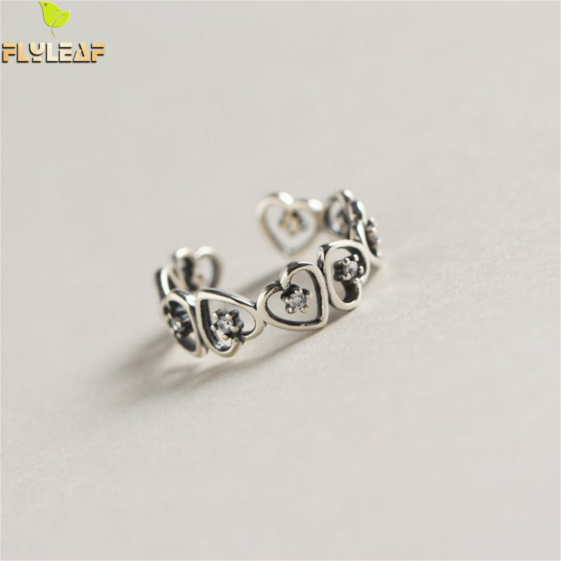 Flyleaf 925 Sterling Silver Rings For Women Geometric Heart-shaped Zircon Exquisite Femme Fashion Fine Jewelry Open Ring Vintage