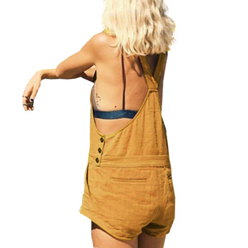 Vintage Womens Jumpsuits Plus Size Sleeveless Backless Casual Loose Solid Overalls Retro Strapless Playsuits Oversized