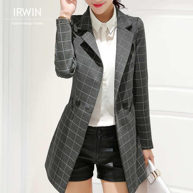Female blazer 2016 spring and autumn new blazer women jacket slim medium-long plaid long-sleeve casual suit blazer outerwear