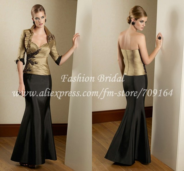 Fm035 Elegant Mermaid Gold And Black Long Mother Of The Bride