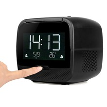 TIVDIO Radio FM Digital Bluetooth Speaker With Sleep Timer Snooze Temperature Display USB Charger AUX Player F9209A