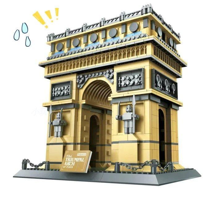 2019 nouvelle série d'architecture célèbre l'arc de Triomphe français modèle 3D blocs de construction classique jouets cadeau