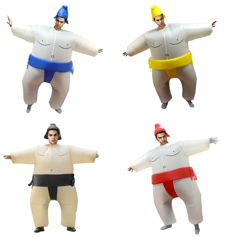Purim Inflatable Sumo Costume Wrestler Fancy Party Dress Halloween Costume for Men Women Adults Fat Man Airblown Sumo Cosplay