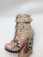 Женские ботильоны, коллекция 2018 года, роскошные осенне зимние ботинки с круглым носком, на шнуровке, с перекрестной шнуровкой, на высоком ка