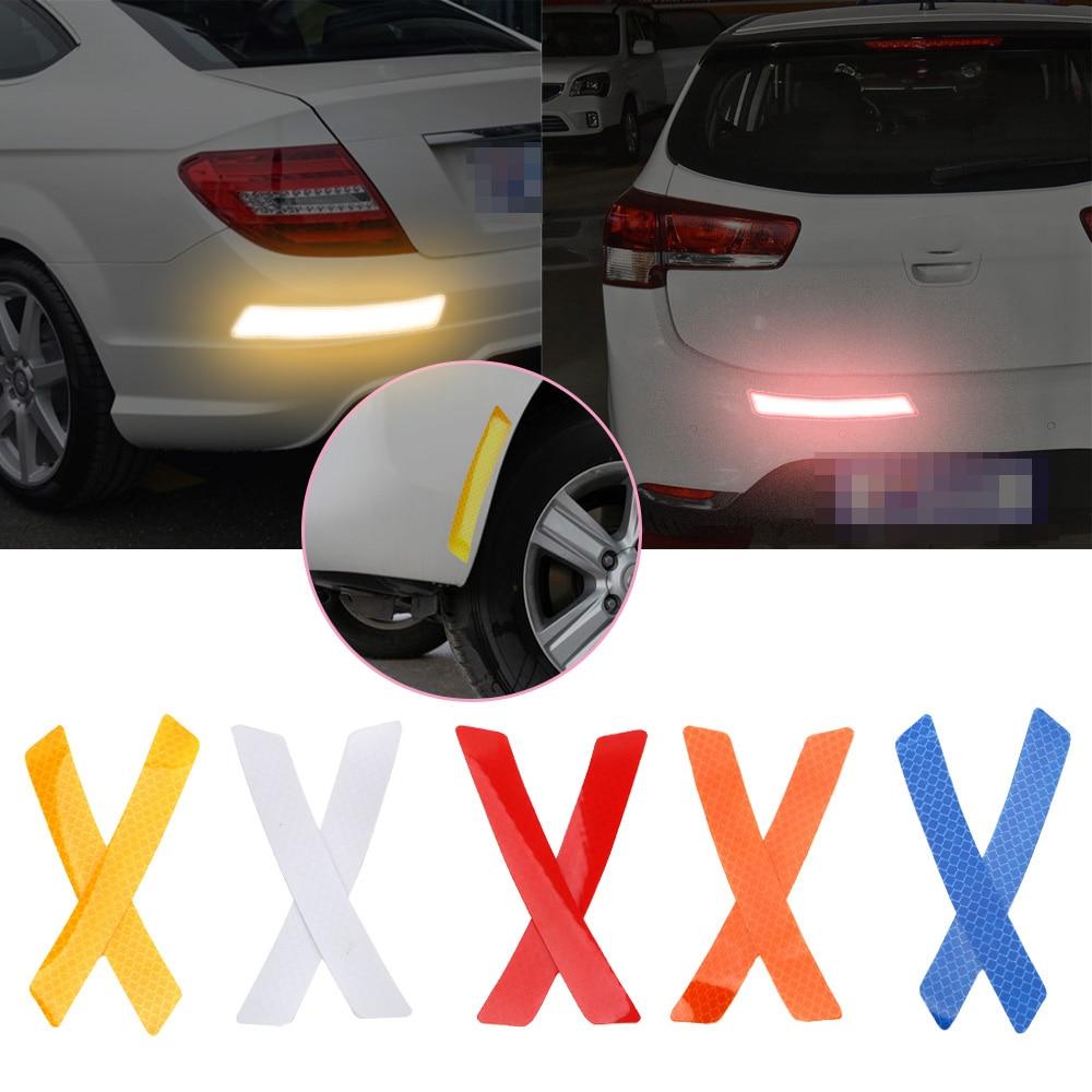 2Pcs Safety Warning Light Reflector Protective Sticker Car Wheel Rim Eyebrow Reflective Warning Strip Stickers