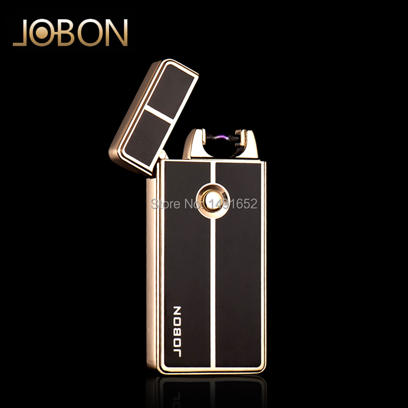 2014 New arrival Jobon windproof ultra thin metal electric arc pulse lighters Rechargeable Flameless electronic lighters