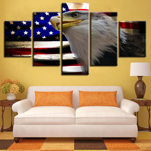 Decoration Home Living Room Wall Art 5 Pieces HD Printing American Flag And Eagle Canvas Pictures Modular Animal Painting Poster
