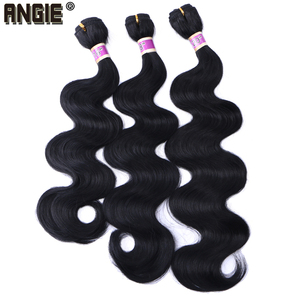 Body Wave Hair Bundles Curly Weave Synthetic Hair Weft 16 18 20 Inches 3 Bundles Black Hair Product