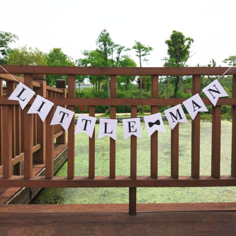 1 set Creative Little Man Banner Boy Gentleman Baby Shower Gender Reveal Birthday Party Decoration