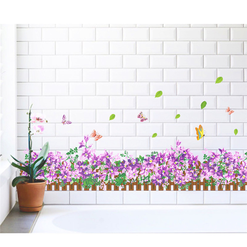 Purple Romantic Big Flower Wall Stickers Home Decor: Romantic Purple Flowers Leaf Wall Stickers For Living Room